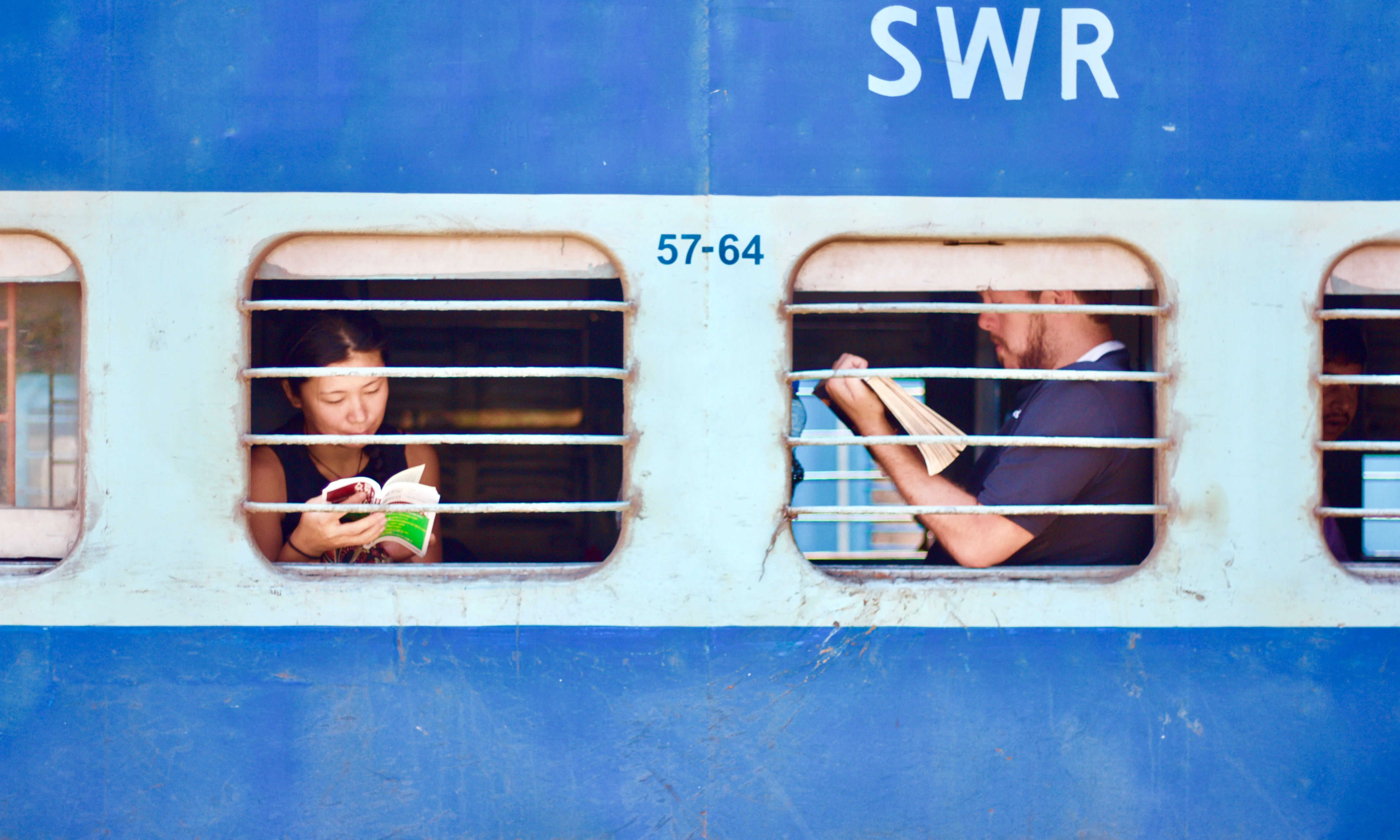 People on a train in India