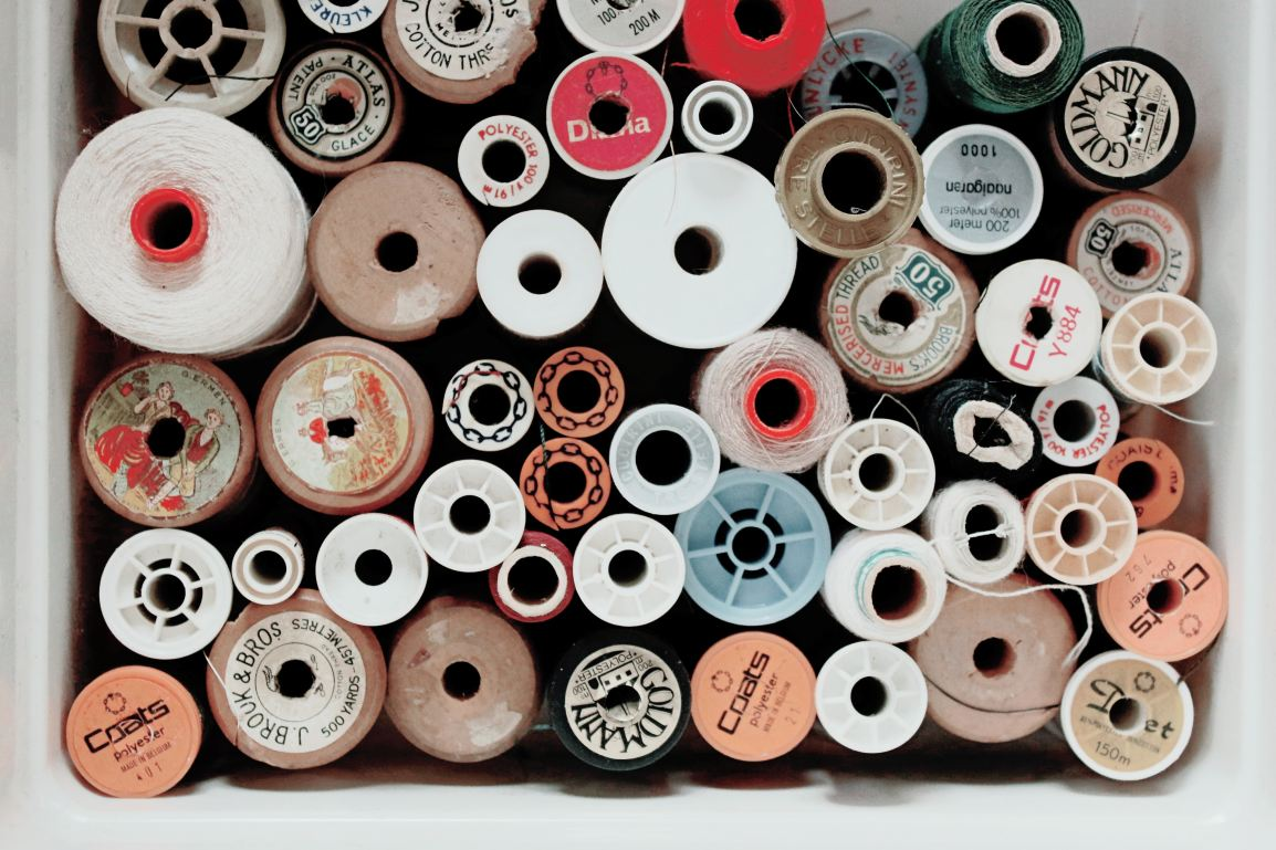 Collection of sewing threads in various sizes
